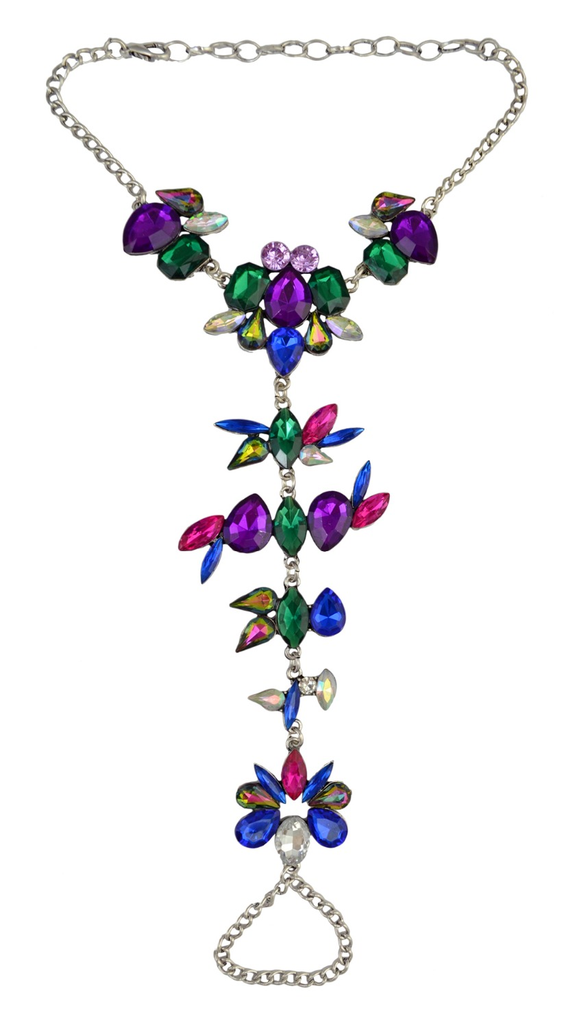 New Arrival 3 Colors Beach Boho Charm Inlay Crystal Rhinestone Flower Shape Summer Anklet For Women