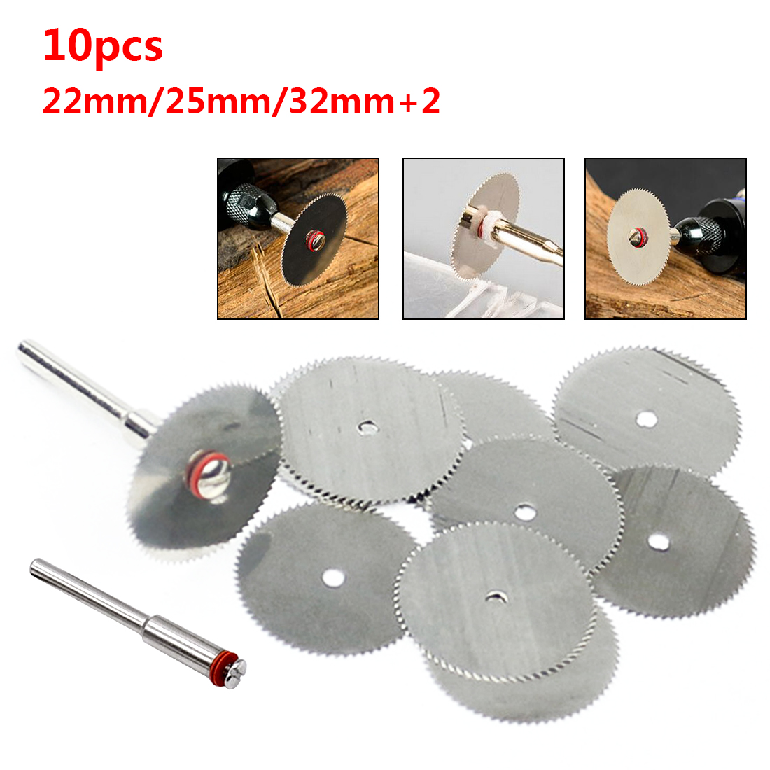 10PCS/SET Wood Saw Blade Disc + 2 x Rod Dremel Rotary Cutting Tool 22/25/32mm 10PCS/SET Wood Saw Blade Disc + 2 x Rod Dremel Rotary Cutting Tool 22/25/32mm