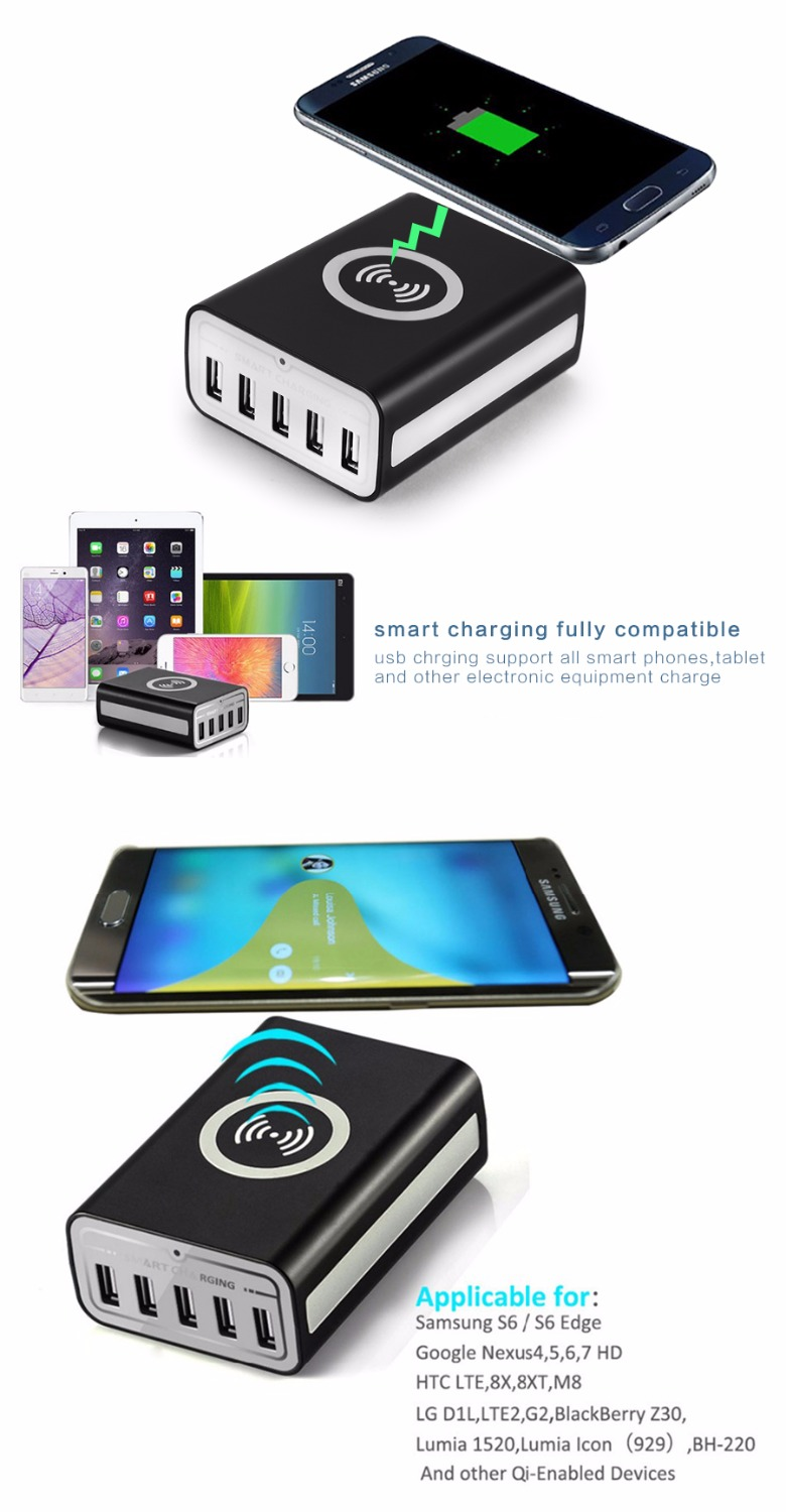 Wireless Charging Station with 5 iSmart USB ports & QI Wireless [45W 9A  Max], Desktop Wall Dock Hub Multiple Charger Organizer-in Mobile Phone  Chargers from ...