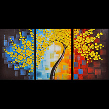 Hand-painted blooming yellow plum blossom flower wall art picture living room bedroom home decor 3pieces palette knife paintings