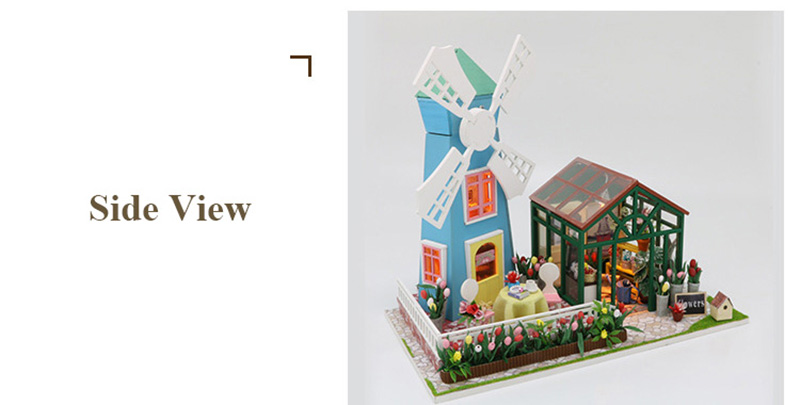 DIY Wooden Miniature Doll House for Children Adult Windmill Flower House with Furnitures Model Building Kits Dollhouse Toys (2)
