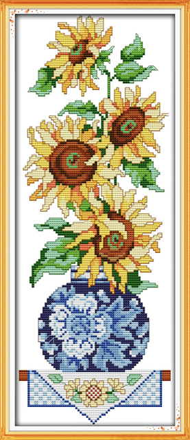 US $11 58 |Joy sunday floral style Sunflower in vase counted free cross  stitch pattern design ornament stamped fabric for beginners-in Package from
