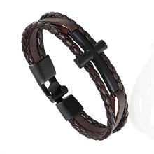 Мужской браслет с якорем janeyacy кожаный перьями ювелирное