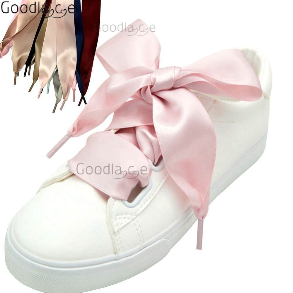 2 Pairs Beige Flat Wide Silk Ribbon Shoelaces Fantastic Casual Shoes Sneaker NEW