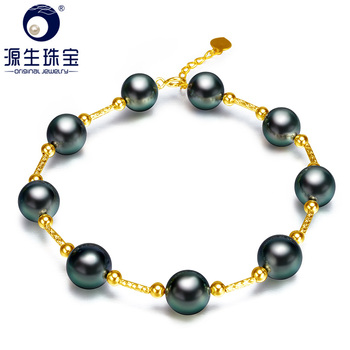 [YS] Best Gift 8-9mm Black Genuine Tahitian Pearl Pure 18k Gold Luxury Bracelets Fine Jewelry