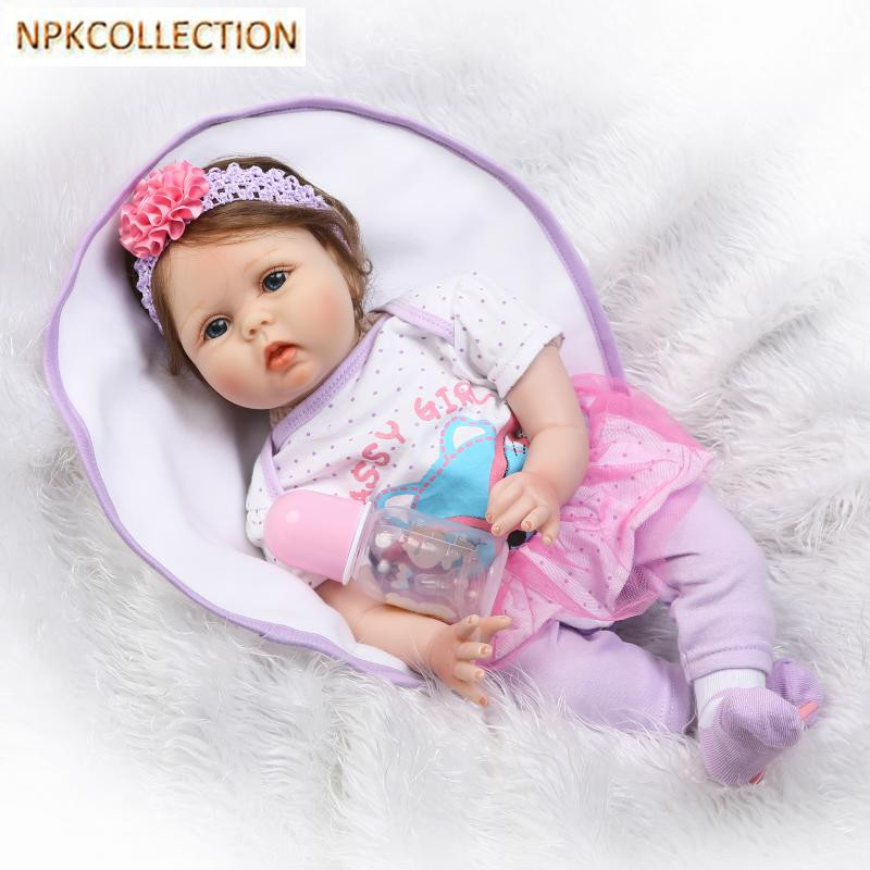 NPKCOLLECTION 50CM Silicone Reborn Dolls Baby Born Dolls for Girls Gift,Handmade Cotton Body Lifelike Reborn Babies Toy Bonecas 2016 cotton body reborn babies lifelike princess girls doll toy rooted mohair gift for baby reborn poupon brinquedos new year