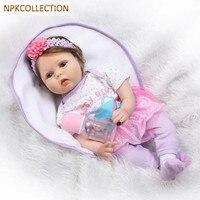 Npkколлекция 50 см силиконовые куклы Reborn куклы для девочек подарок, хлопок ручной работы тела гиперреалистичные пупсы игрушки Bonecas