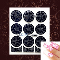 New Heart Pattern Nail Vinyls Stamp Stencils DIY Creative Black Silver Sticker Nail Art Hollow Template