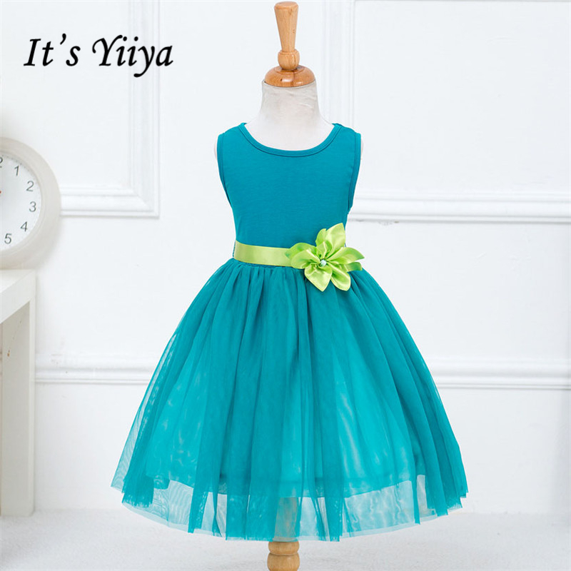 It's yiiya New Bling Sequined Flower Girl Dresses Patchwork Mesh Princess Ball Grown O-neck Sleeveless Girls Dress TS104