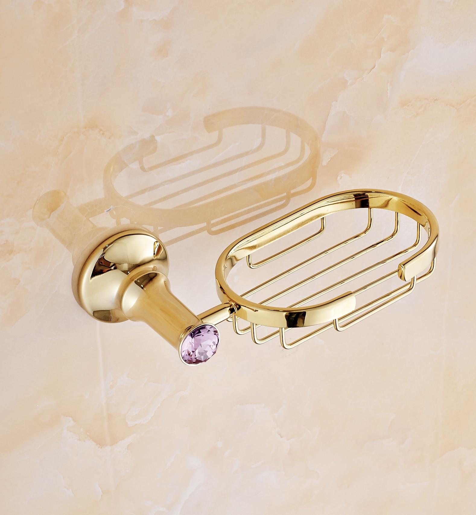 Cheap purple bathroom accessories - Luxury Gold Bathroom Soap Net Antique Brass Storag