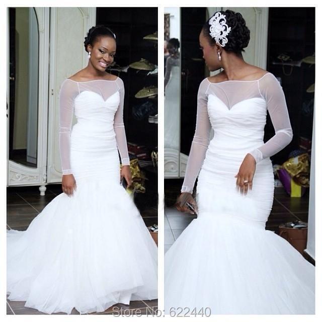 Simple Tulle Mermaid Wedding Dresses Long Sleeves Wedding Dress See ...