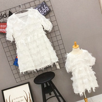 New Mother Daughter Dress White Dress Family Matching Dresses Kid Girl Mother Dress Family Matching Clothing Outfits