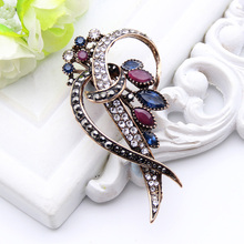 New Arrived Turkish Antique Brooch Women Gold Plating Crystal Brooches Lapel Hijab Scarf Pins Wedding Party Favorite Bijoux Gift