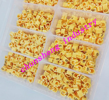 1000pcs/box EC-1 2.5mm2 10 different number  0-9 cable marker yellow color set