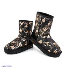 2015 New Women'S Leather Heavy-Bottomed Boots In The Snow Tube Warm Shoes Boots Skull Printing Women