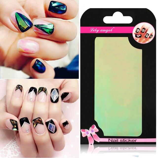 Lily Angel 2017 Irregular Broken Gl Mirror Foil Finger Nail Art Sticker Aurora Platinum Paper