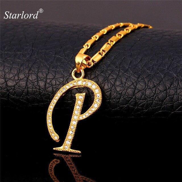 Inicial Letra P   Pingentes Colares Mulheres Homens Presente Personalizado  Alfabeto Jóias Da Cor do Ouro ec04382611