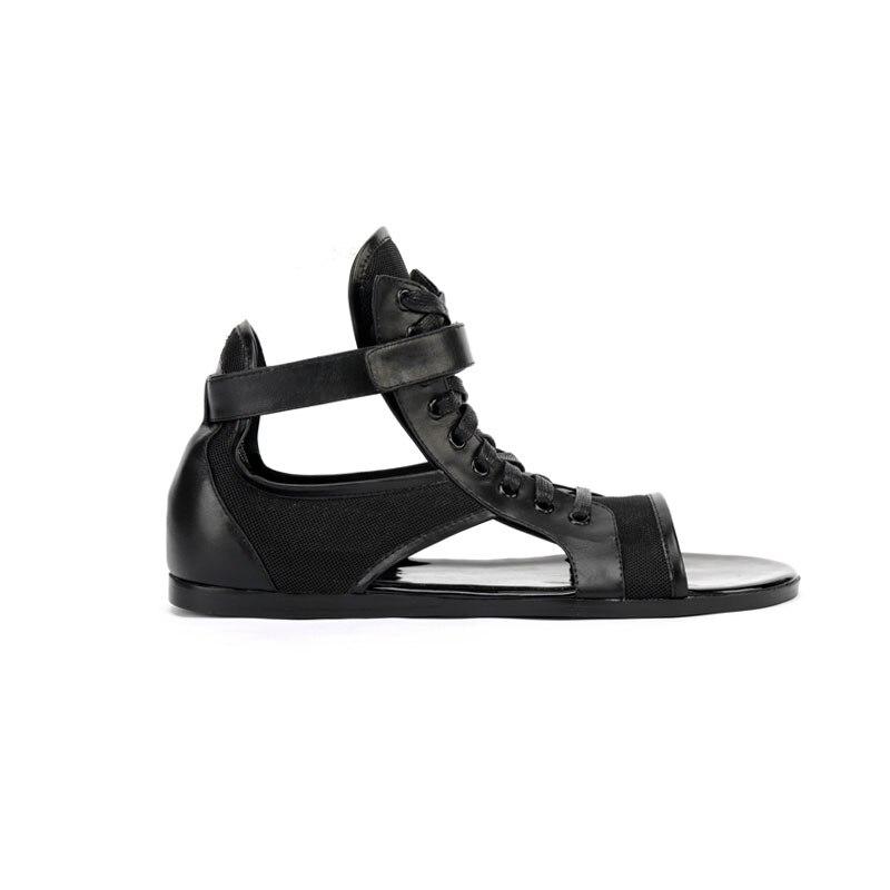 Sandales En Cuir De haute Qualité Hommes Personnalisé Noir à lacets Extérieur Gladiateur Sandales Marque Baskets Chaussures De Plage D'été Hombre-in Sandales homme from Chaussures    3