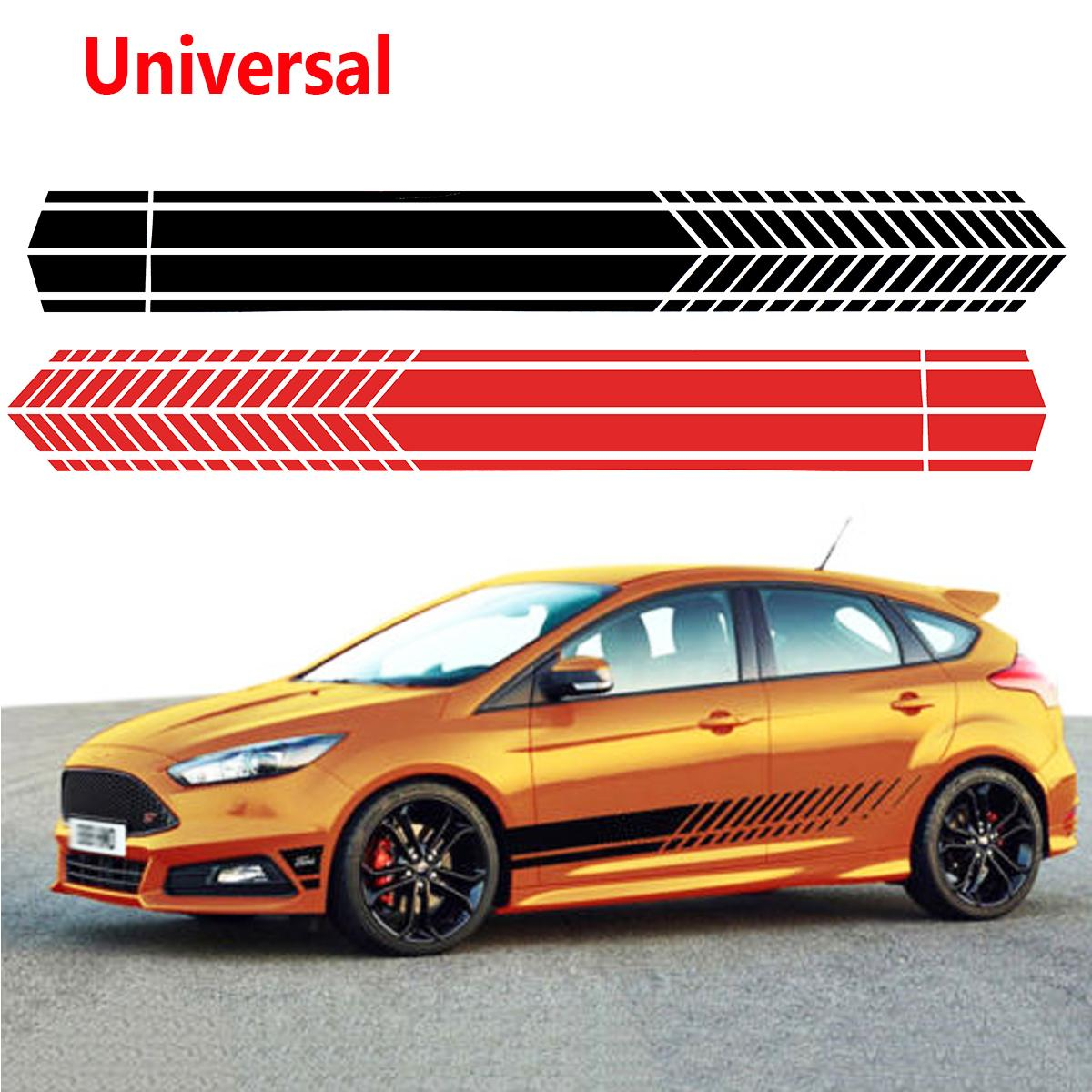 Universal Sports Racing Stripe Graphic Stickers Truck Auto Car Body Side Door Decals racing middle size resident evil decals bumper stickers for car