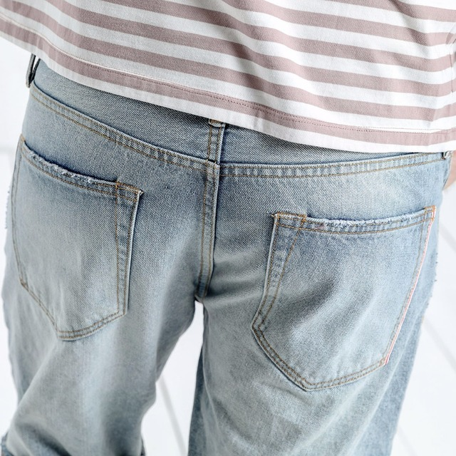 Men's Denim Shorts Summer Ripped Knee Length Cotton Soft