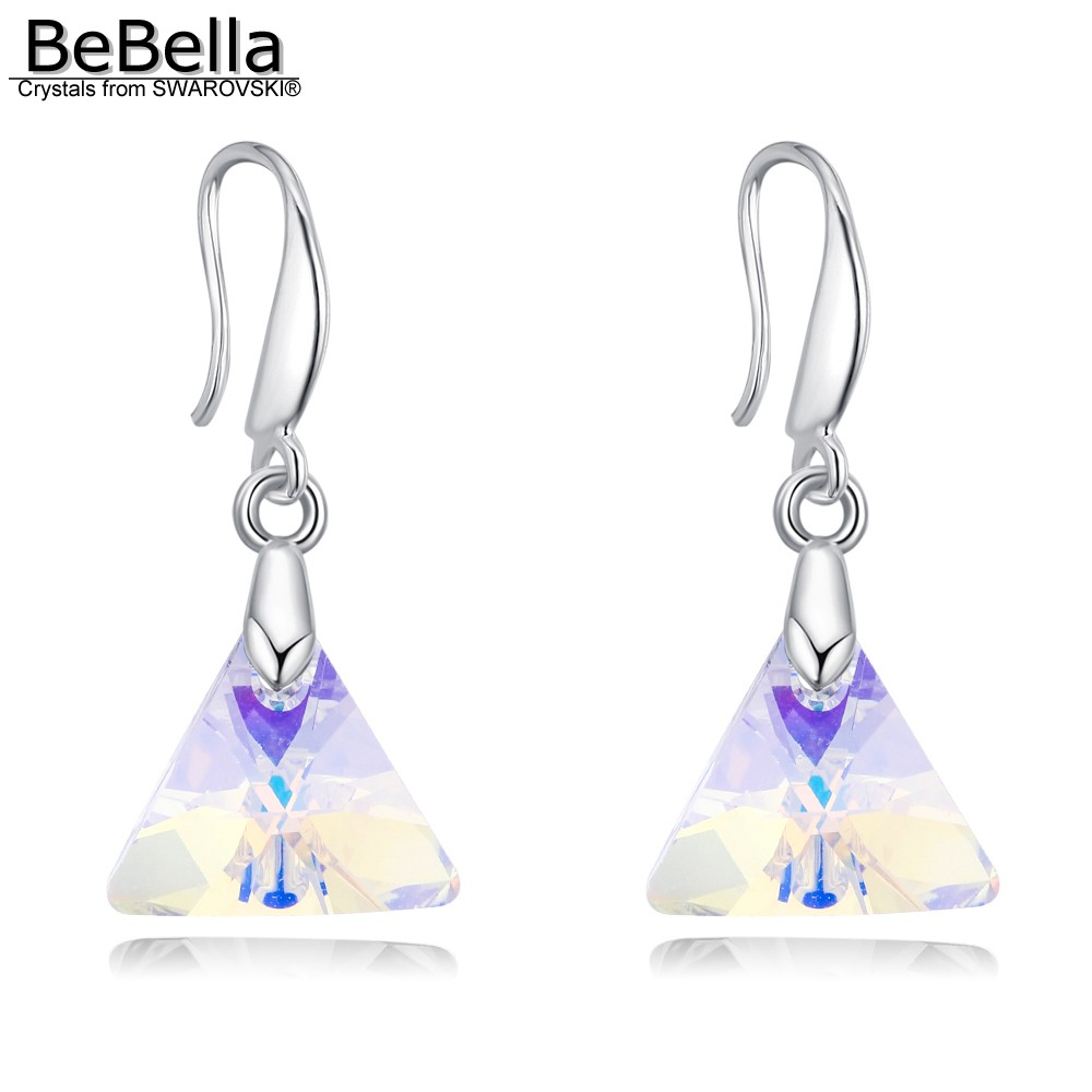 Bella Crystal Ring Chandelier: BeBella Crystal Triangle Pendant Dangler Earrings Made
