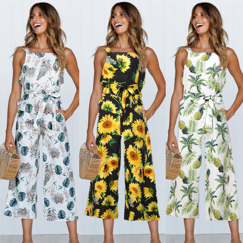 2018 Women Jumpsuit Fashion Pineapple Leaf Print Sleeveless Round Neck Chiffon Sexy Wide Leg Pants Beach Boho Playsuit Romper