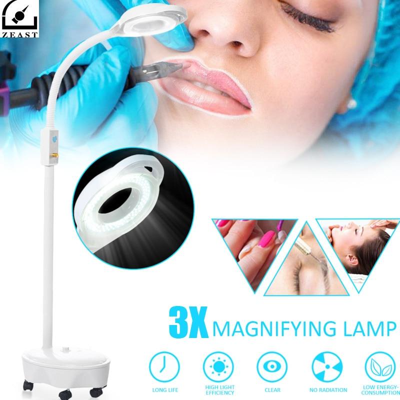 Pro 3X Dioptrique 120 LED Loupe Lampe De Support Au Sol Loupe En Verre Froid Ligth Len La Lumière Du Visage Pour la Beauté Salon Nail tatouage 220 v