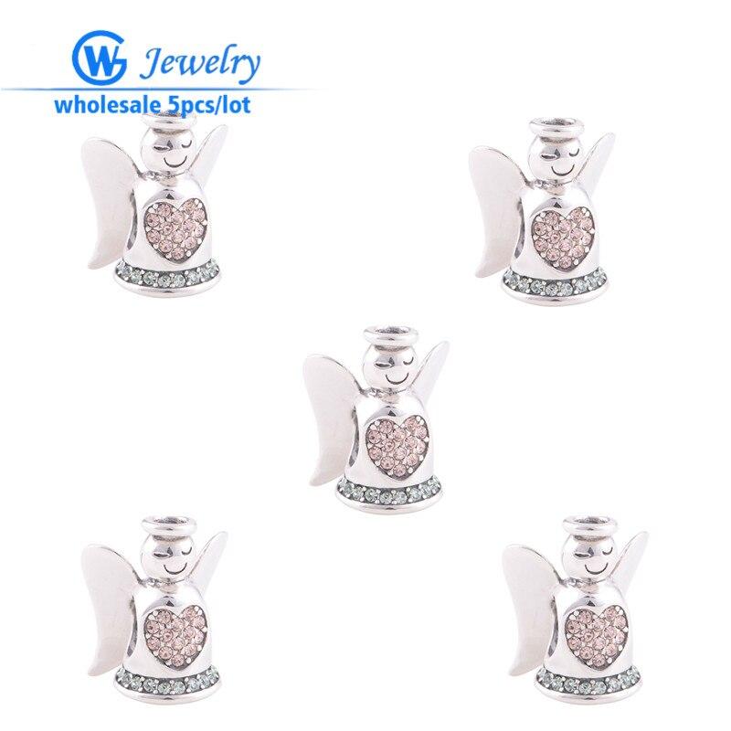 b0b14854d 5pcs/lot 925 sterling silver charms angel wing charm fits tibetan silver  bracelet GW Fashion jewelry X103H15
