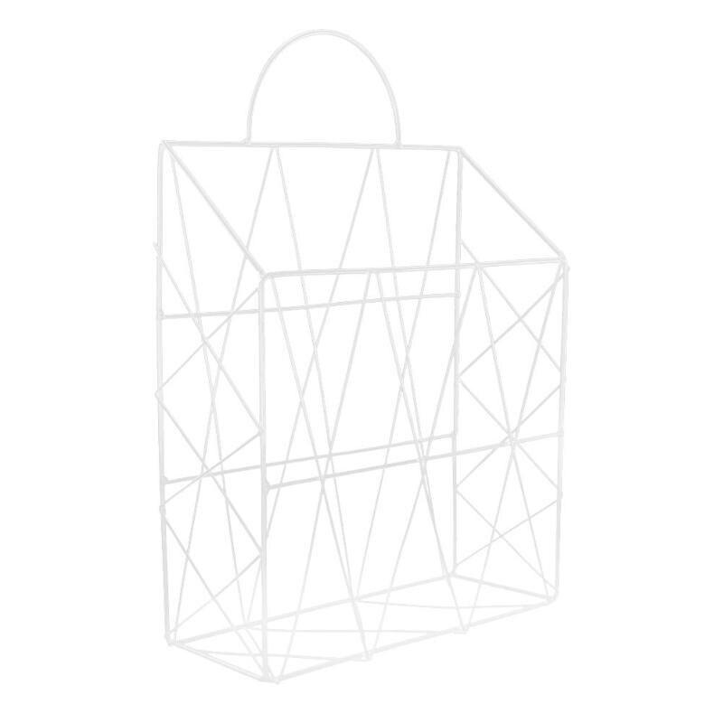 Скандинавские простые железные настольные книги журналы газет корзина для хранения портативный многофункциональный мусор подвесной стеллаж органайзер - Цвет: Белый