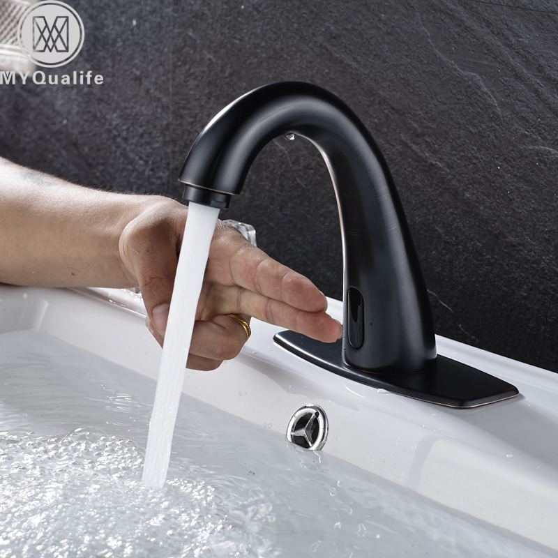 Wholesale And Retail Basin Tap Black Color Sense Faucets Only For Cold Water Free Touch Bathroom Water Saving Faucet touch free water saving chrome