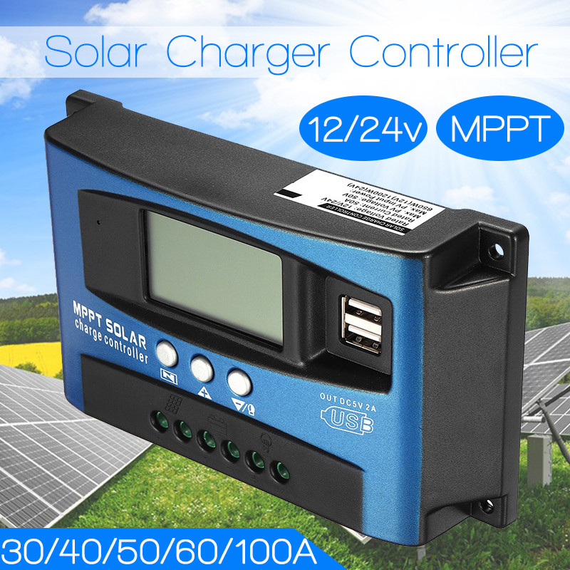 30/40/50/60/100A MPPT Solar Charge Controller Dual USB LCD Display 12V 24V Auto Solar Cell Panel Charger Regulator With Load30/40/50/60/100A MPPT Solar Charge Controller Dual USB LCD Display 12V 24V Auto Solar Cell Panel Charger Regulator With Load