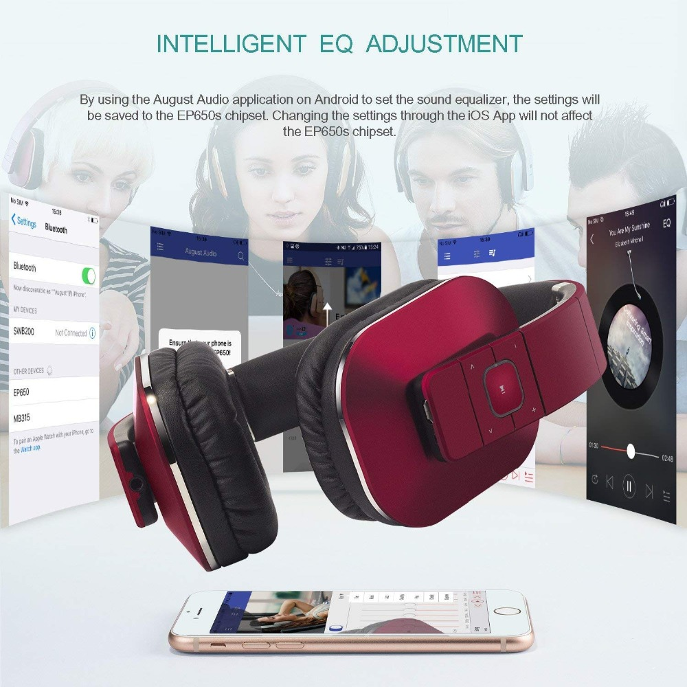 US $70 25  August EP650 Silver Upgrade Wireless Bluetoooth 4 2  Headphones/Headset with EQ APP Control with Microphone for TV,Phone,PC-in  Bluetooth