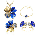 Top Quality Colorful Crystal Clover Austrian Pendant Necklace Earring Fashion Jewelry Sets elegant women cheapest price 9554