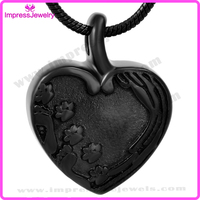 IJD9293 Paw Engraved Heart Urn Pendant Cremation Jewelry Memorial Urn Personalized Ashes Keepsake Holder
