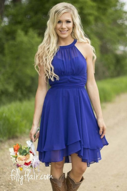 48683b43e3 Modest Country Western Style Royal Blue Short Bridesmaid Dresses Beach  Chiffon Simple Knee Length Wedding Party