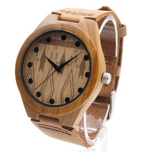 BOBO BIRD Men's Bamboo Wooden Quartz Watches With Genuine Cowhide Leather Band Luxury Wood Watches for Men Best Gifts Item