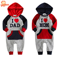 Ropa de invierno de alta calidad para bebé I Love Dad y Mom, enterizos con capucha para el invierno, mameluco de invierno para bebé niño y niña