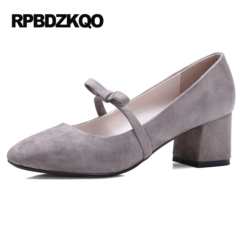 Gray Strap Suede Medium Mary Janes Women Shoes Bow Pumps Square Toe Kawaii Thick Size 4 34 2017 High Heels China Chinese New khaki suede large size mary janes high