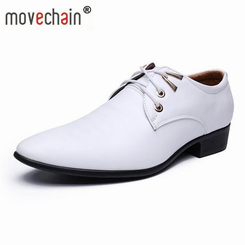 a6dd99b4e08 Detail Feedback Questions about movechain New Fashion Men s White Wedding  Party Leather Shoes Man Casual Oxfords Mens Lace Up Dress Business Office  Flats on ...