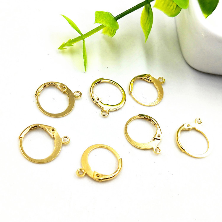 2pcs Stainless steel stud earring finding component gold colour jewellery making