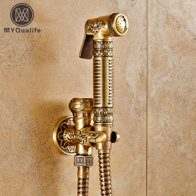 Top-grade Wall Mounted Brass Toilet Sprayer Tap Antique Single Hole Bathroom Mop Cleaning Faucet Bidet Faucet antique brass wall mounted bathroom copper toilet paper roll holder aba079