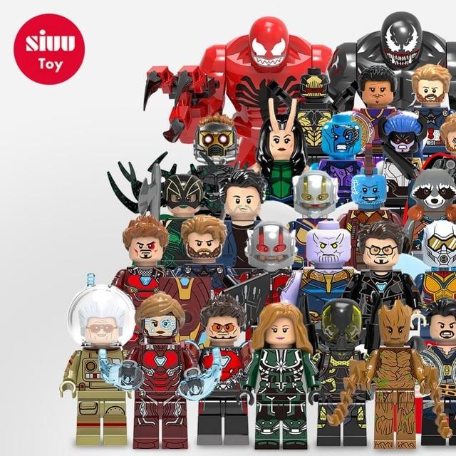Maravilhas Legoings Venom Avengers Iron Man Hulk Groot Thanos Deadpool Joker Mini modelo Building Blocks DIY Crianças Presentes Brinquedos YF30