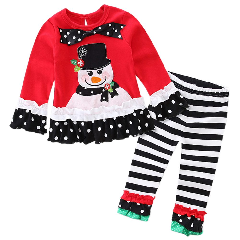 ABWE Best Sale Christmas Baby Girl Clothes Set T-Shirt + Ruffle Pants Black+Red Bowknot Snowman, 80 yards