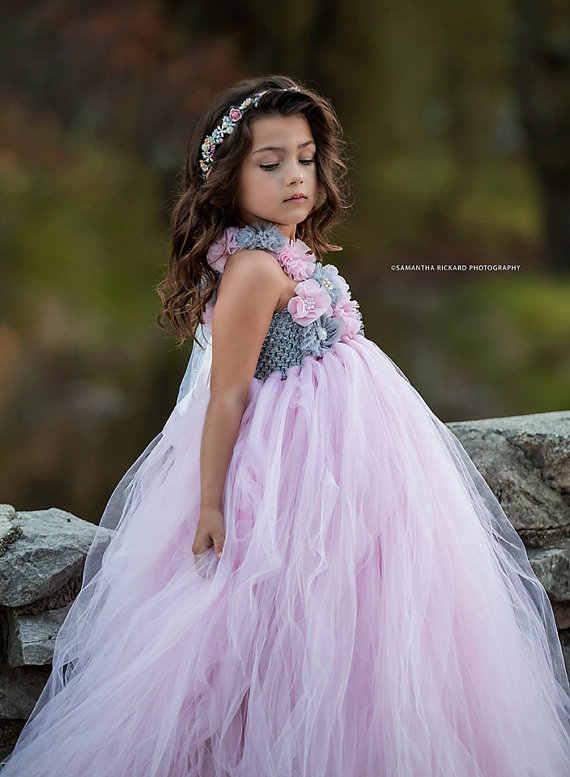 04a9d41c983e ... Pink and Grey Flower Girl Tutu Dress Wedding Tulle Dress Girls Wedding  Dresses Robe Demoiselle D