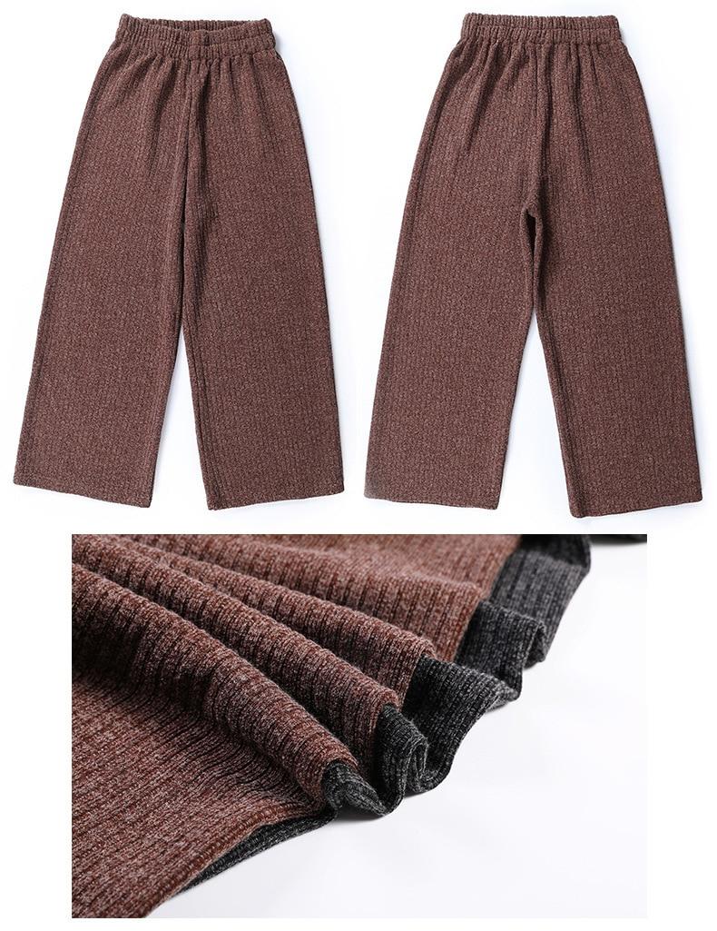 A FAN LANG New Women Autumn Winter Woolen Ankle Length Casual Pants Loose Sweat Pants Trousers Streetwear Woman's Wide Leg Pants 29