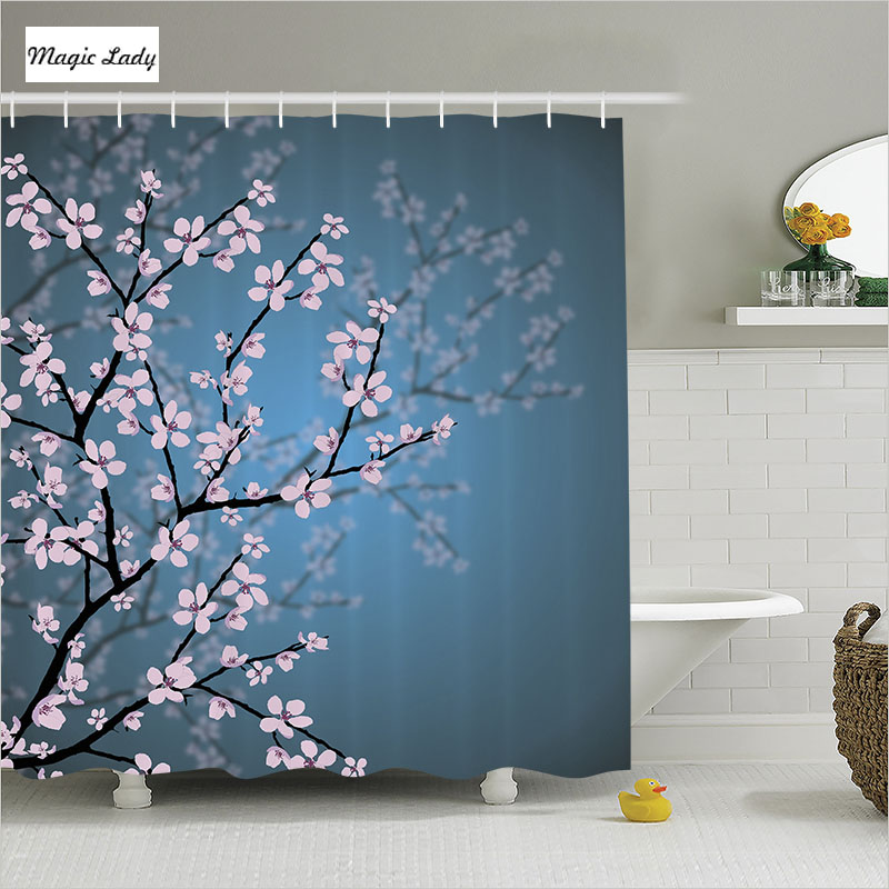 Shower Curtain Pink Blossoms Deco Leaves and Plants Spring Sakura ...