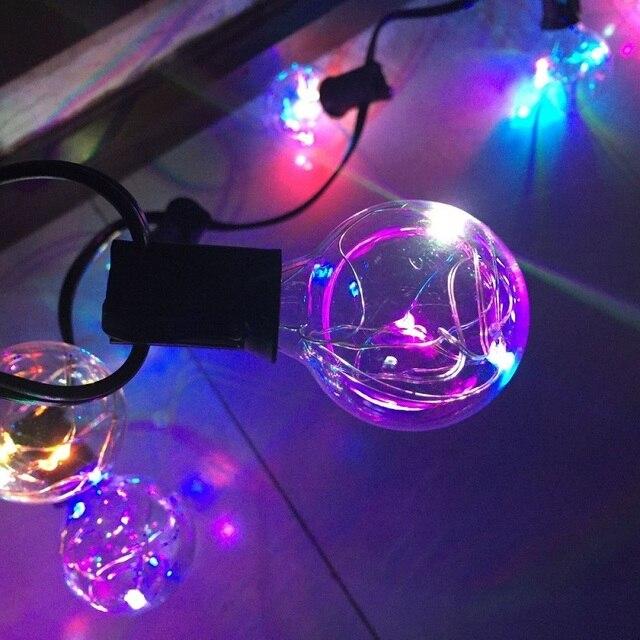 1X17Ft Globo Claro G40 Led Cadena de Luz multicolor de 25LED Bulbos Guirnalda de Luz Para Navidad/Partido/de La Boda decoración Lámpara Fariy