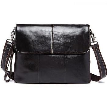 Messenger Bag Men Genuine Leather Men's shoulder bags male Casual Zipper Crossbody Bags for men handbags 1