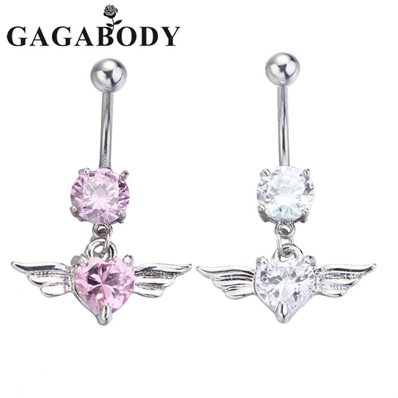 Newest Silver Gold Navel Belly Button Ring Rhinestone Bar Heart Angel Belly Piercing Body Jewelry 2016