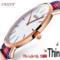 OLEVS Summer Style Colorful Watch Ultrathin Dial Canvas Strap Dress Quartz Wristwatch Mens Clock Top Business